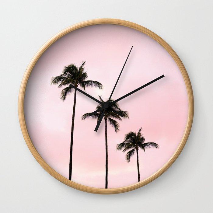 Palm Tree Photography Peach   Blush Pink   Millennial Pink   Miami Wall Clock