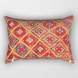 Zili  Antique Turkish Fethiye Flatweave Print Rectangular Pillow
