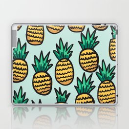 Pineapple illustration pattern on blue background Laptop & iPad Skin