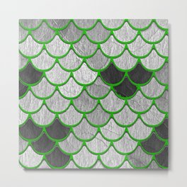 Dragon Scales with Green Outline Metal Print