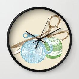 Vintage Sewing Kit Illustration Wall Clock