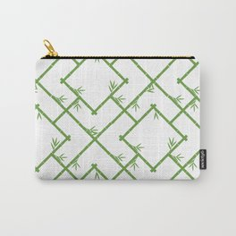 Bamboo Chinoiserie Lattice in White + Green Carry-All Pouch