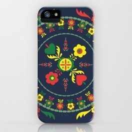 Folk Flowers with Green  Border iPhone Case