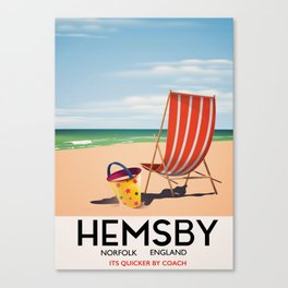 Hemsby Norfolk England vintage train poster. Canvas Print