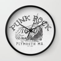 punk rock Wall Clocks featuring Punk Rock Plymouth Ma. by Kris Petrat Design