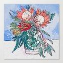 Painterly Vase of Proteas, Wattles, Banksias and Eucayptus on Blue by larameintjes