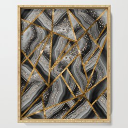 Black Night Agate Gold Geometric Glam #3 #geo #decor #art #society6 Serving Tray