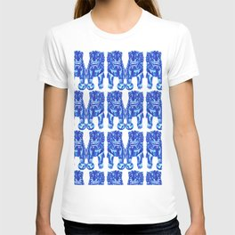 Chinese Guardian Lion Twins in Blue Porcelain T-shirt