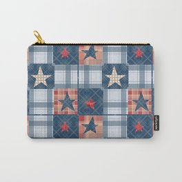 Blue denim plaid patchwork . Carry-All Pouch