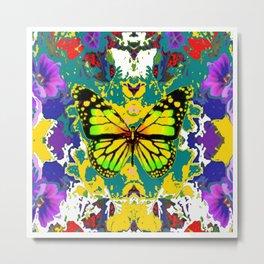 Yellow  Monarch Butterfly Flower Garden Metal Print