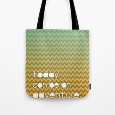 Today Can Be An Adventure Poster Teal Yellow Chevron Tote Bag