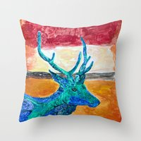 rothko Throw Pillows featuring Deer Rothko by winterkl