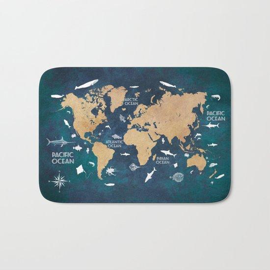 World Map Oceans Life blue Bath Mat