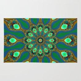 Fractal jewel mandala Rug