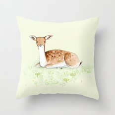 Happy Fallow Deer Throw Pillow