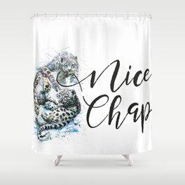 Snow leopards Nice Chap Shower Curtain