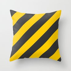 Stripes Diagonal Black & Yellow Throw Pillow