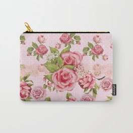 Country Rose Pink Floral Carry-All Pouch