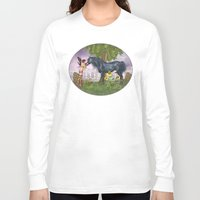 the last unicorn Long Sleeve T-shirts featuring The Last Black Unicorn by Simone Gatterwe