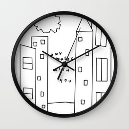 New York, Paris, Anywhere With You - City Landscape Illustration Humor Quote Love Wall Clock