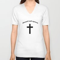 onward V-neck T-shirts featuring Onward and upward by gbcimages