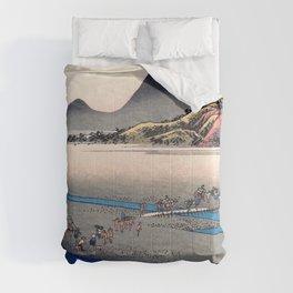 Utagawa Hiroshige - 53 Stations of the Tokaido - Kanaya, Oi River, Far Bank Comforters