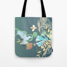 Hummingbird leaf tangle Tote Bag