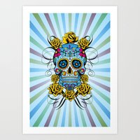 Sugar skull- Day of the dead- blue Art Print