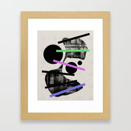 PENSIVE - Eclectic blend of geometric shapes, pastel colours, and black and white textures Framed Art Print