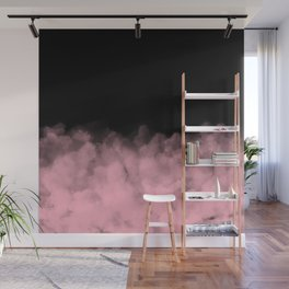 Pink Clouds on Black Wall Mural