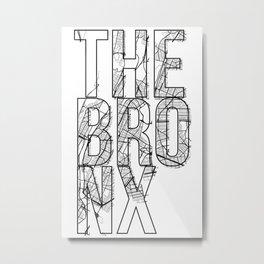 The Bronx Street Map Typography Metal Print