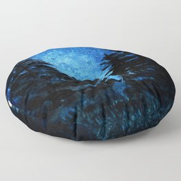 Blue Sky - Evergreen Trees Floor Pillow