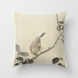 Bunting on blossom branch - Ohara Koson (1900 - 1930) Throw Pillow