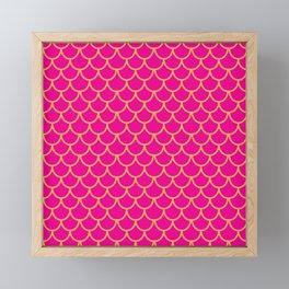 Mermaid Scales Pattern in Pink. Gold Scallops. Pink Framed Mini Art Print