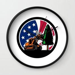 American Forestry Mulcher USA Flag Retro Wall Clock