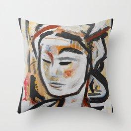 DUNE abstract portrait earth goddess Throw Pillow