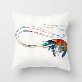 Colorful Shrimp Art by Sharon Cummings Throw Pillow