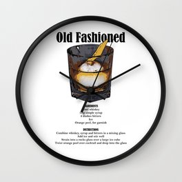 Old Fashioned - Classic Cocktail Recipe Wall Clock