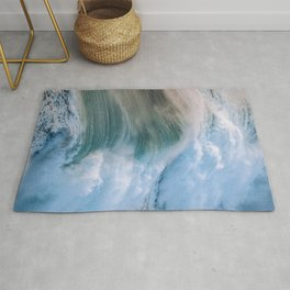 Crashing Wave in the evening Light Rug