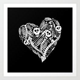 Skeletal Love Heart  (Black) Skulls and Bones Art Print