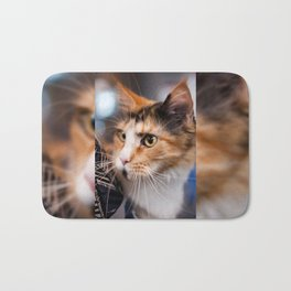 Red hair cat head portrait Bath Mat