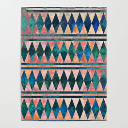 Decorative Multi-color Diamond Pattern Design Poster