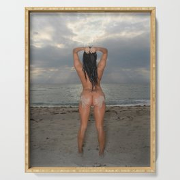 9524-SS Naked Woman Nude Beach Sand Surf Sandy Handprint Big Breasts Long Black Hair Sexy Erotic Art Serving Tray