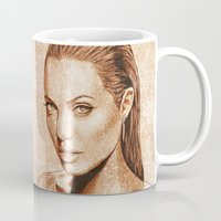 angelina jolie Mugs featuring Angelina Jolie by Renato Cunha