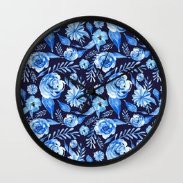 Blue Rose II Wall Clock