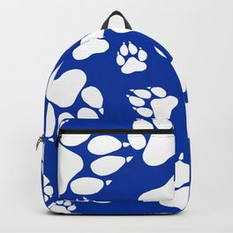 Blue and White Wildcats Paw Print Pattern Digital Design Backpack
