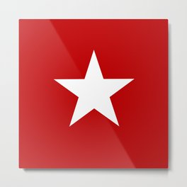 white star on red background Metal Print