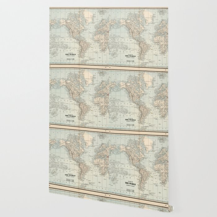 Vintage Map of The World (1893) Wallpaper