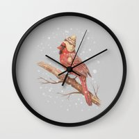 jon snow Wall Clocks featuring First Snow - colour option by Terry Fan