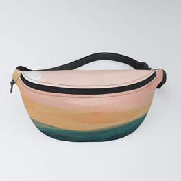 pink, green, gold moon watercolor mountains Fanny Pack